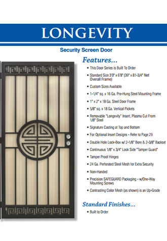 Heavy Duty Security Screen Doors, Dove Canyon