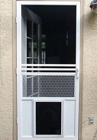 Swinging Screen Door with Pet Door